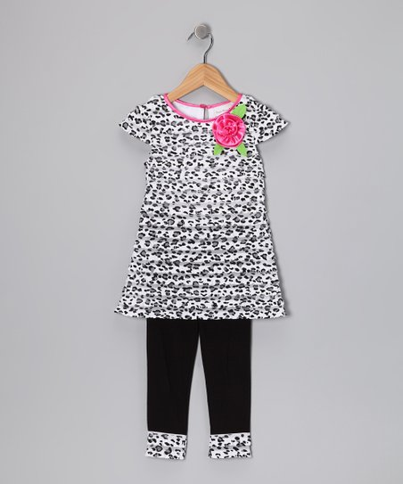 be0fc520b36e09 Sweet Heart Rose Pink & Black Top & Leggings - Girls | Zulily