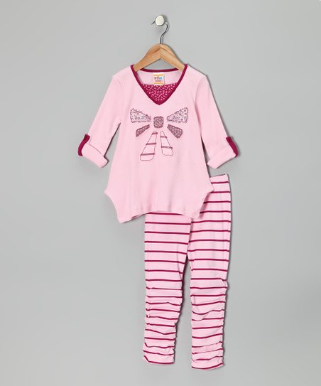 b7fe515110dee love this product Light Pink Bow Tunic & Stripe Leggings - Infant & Toddler