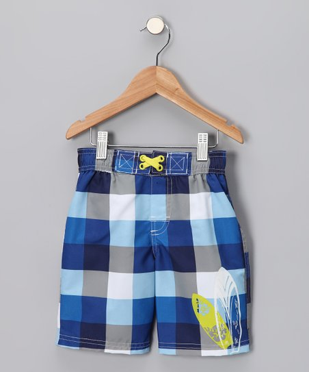 c5440fed5692 Swimsuit Station Blue Buffalo Check Swim Trunks - Toddler | Zulily