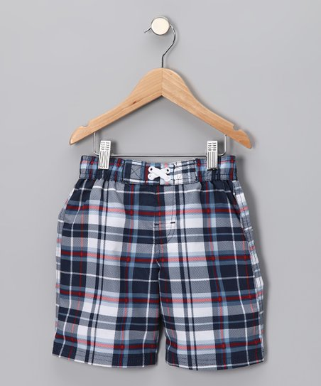 542701d2f744 Swimsuit Station Red & Blue Plaid Swim Trunks - Toddler | Zulily