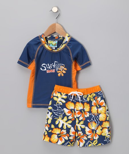 ff4be72e0133 Swimsuit Station Blue Hawaii Rashguard & Swim Trunks - Toddler | Zulily