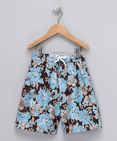 fdd8e3a49f8d Swimsuit Station Brown & Blue Hibiscus Swim Trunks - Boys | Zulily