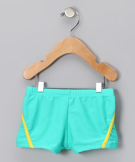 79dd97c408d1 Swimsuit Station Aqua & Yellow Stripe Swim Shorts - Boys | Zulily