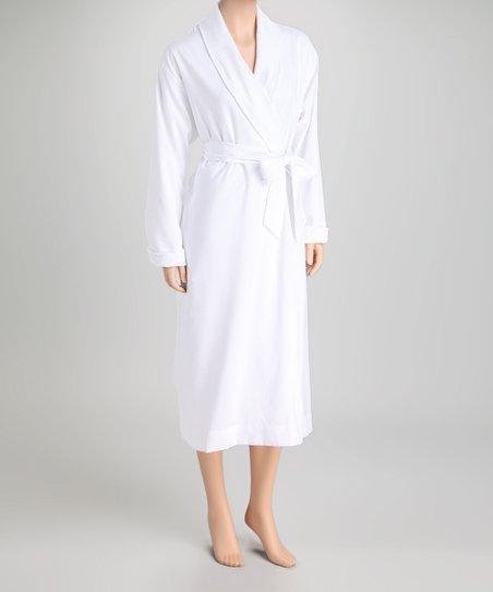 Telegraph Hill Telegraph Hill White Double-Layer Seersucker Robe - Women