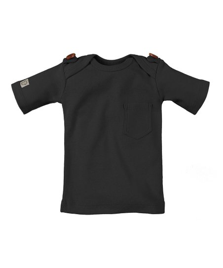 686ce6000122 Those Baby Basics Black Button-Shoulder Tee