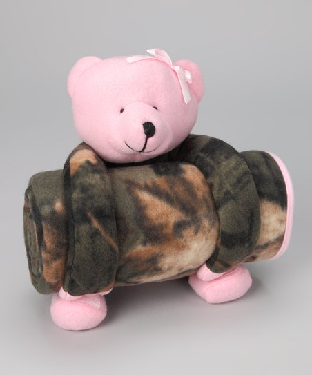 0786b220a814b Trailcrest Pink & Olive Camo Teddy Bear Plush Toy & Blanket   Zulily