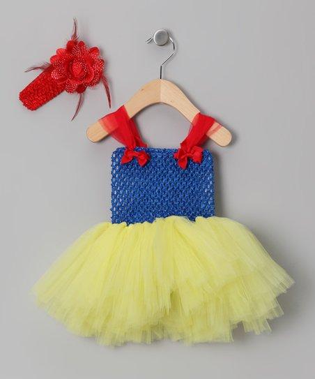 Tutu Mania Blue Yellow Tutu Dress Crochet Headband Infant