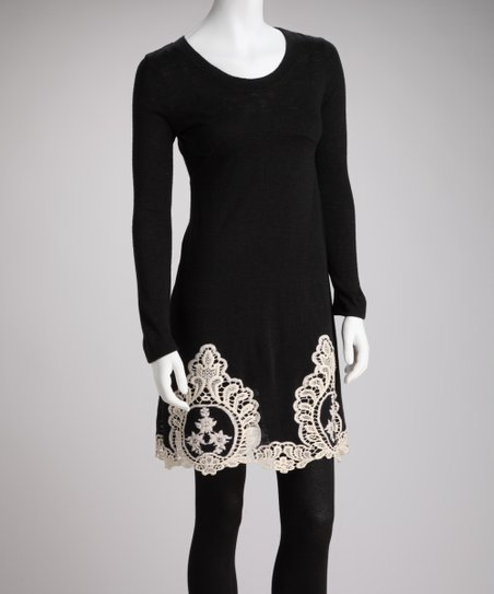 Young Threads Black Lace Trim Long Sleeve Sweater Dress Zulily
