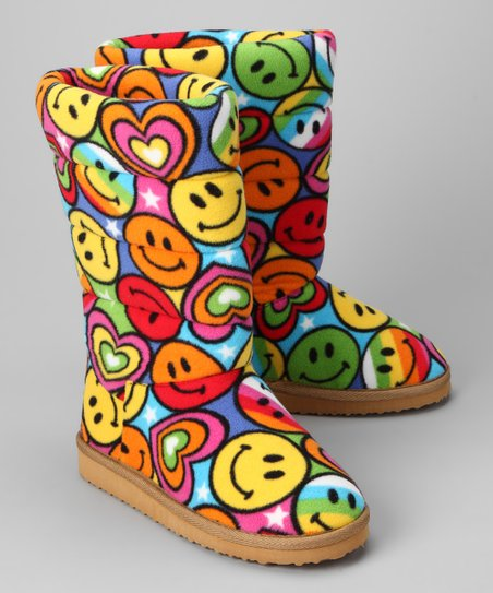 Melissa Doug Boot Slippers lizzy Girls Large 4-6.5  Smiley Face hearts NEW