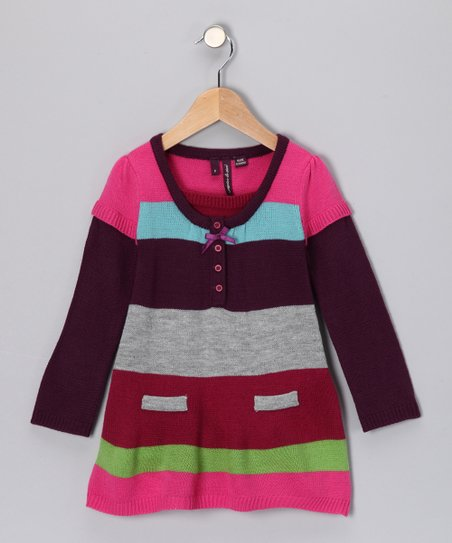 58a13b508f love this product caprice de star Raspberry Rose Stripe Sweater Dress -  Toddler