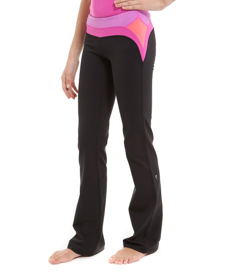 5239c4e3193b12 ivivva Black & Paris Pink Stripe Routine Pants - Girls | Zulily