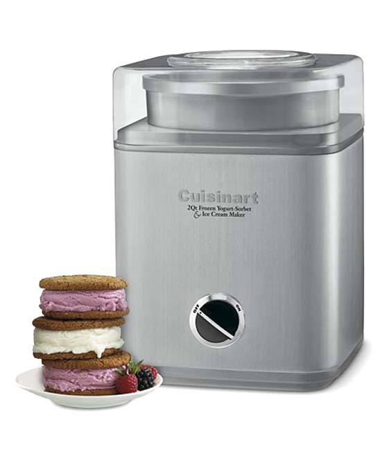 Cuisinart  Ice Cream Makers Silver - Pure Indulgence 2-Qt. Frozen Yogurt-Sorbet & Ice Cream Maker Pure Indulgence 2-Qt. Frozen Yogurt-Sorbet & Ice Cream Maker. Create two quarts of your favorite frozen dessert or drink in as little as 25 minutes with this double-insulated ice cream maker.FeaturesMakes frozen desserts or drinks in 25 minutesOperates with integrated motor, double-insulated freezer bowl, and automatic mixing paddleProduct detailsIncludes instruction/recipe book8'' W x 11.25'' H x 8.25'' DHolds up to 2 quartsBPA-freeImported