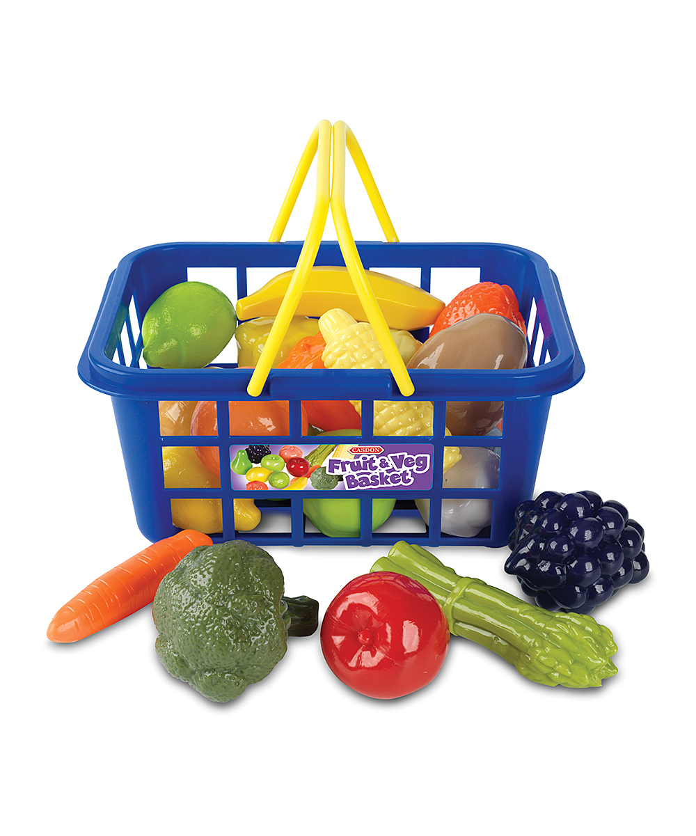 Casdon  Early Development Toys  - Fruit & Vegetable Shopping Basket Toy Set Fruit & Vegetable Shopping Basket Toy Set. This sweet kid-sized shopping basket is perfect for toting produce around. Filled with an assortment of fruits and vegetables, it ensures little ones will learn the value of coupons in no time! Includes basket and 21 fruit and vegetable pieces9'' W x 6.5'' H x 4'' DPlasticRecommended for ages 3 years and upImported