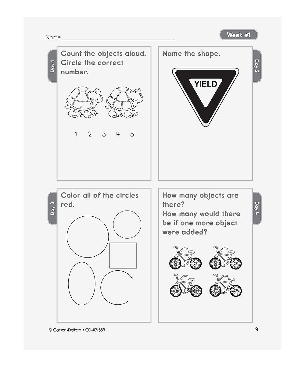 Workbooks kindergarten common core workbook : Carson Dellosa Common Core Math 4 Today: Kindergarten Workbook ...