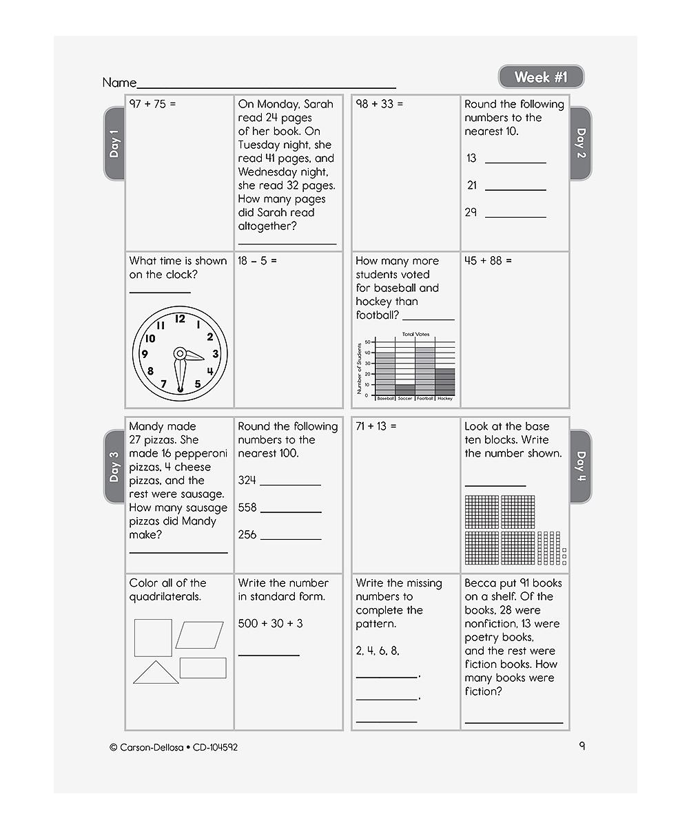 Carson Dellosa Grade 3 Common Core Math 4 Today Workbook