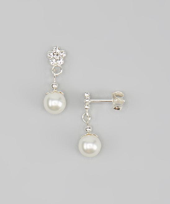 56fb1b42fb Tiny Treasures Cubic Zirconia Daisy Drop Earrings With Swarovski® Crystal  Pearls