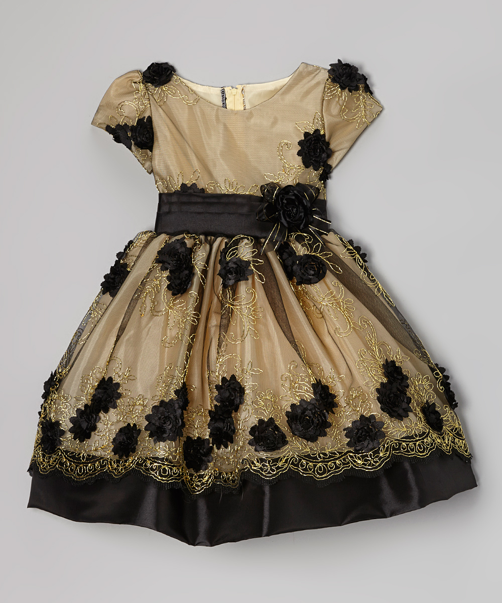 b632cc187e1fe love this product Gold & Black Rose Embroidered Dress - Toddler & Girls