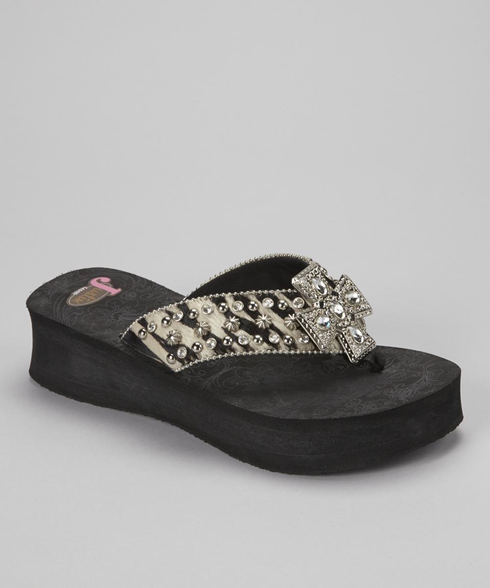 bac452a8c282 Justin Boots Black   White Randi Calf Hair Platform Flip-Flop ...