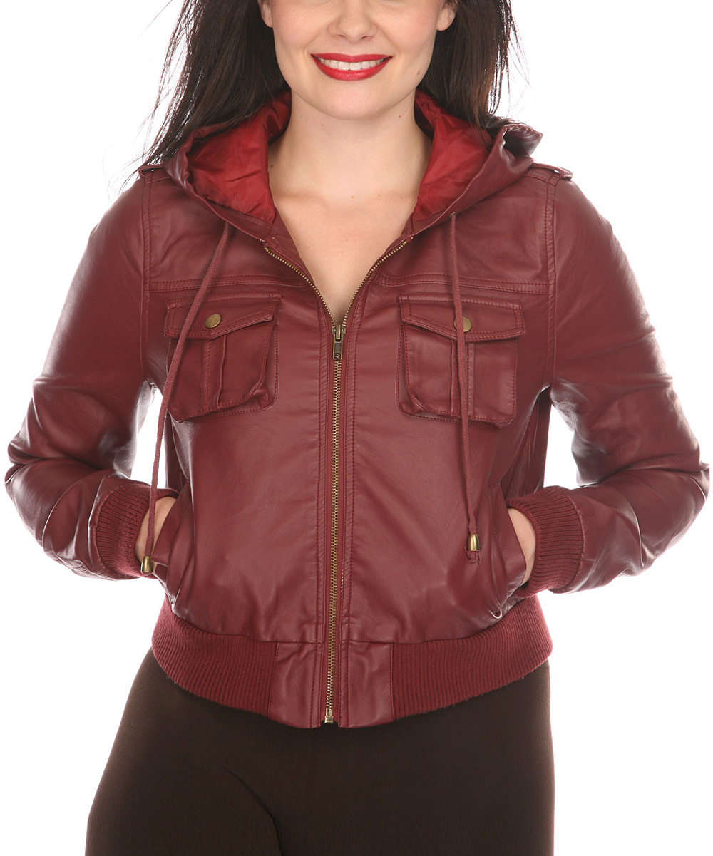 7af551ce4 White Mark Burgundy Hooded Faux Leather Jacket - Women