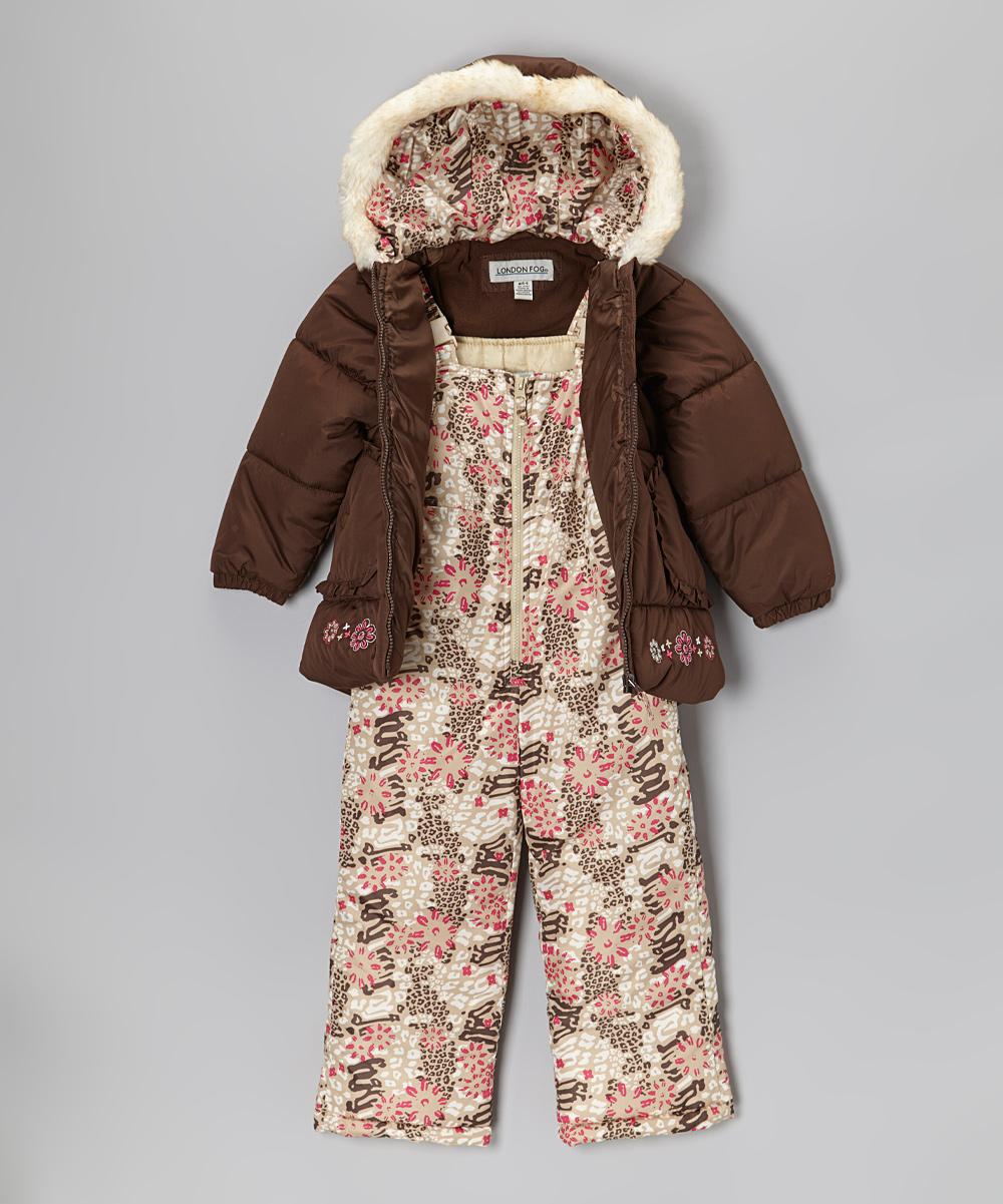 27f5a2788bc2 London Fog Brown Puffer Coat   Bib Pants - Infant