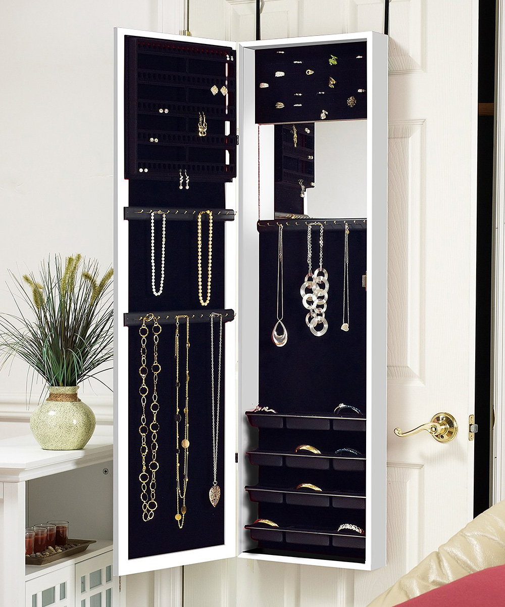 All Gone White Over The Door Mirrored Jewelry Armoire