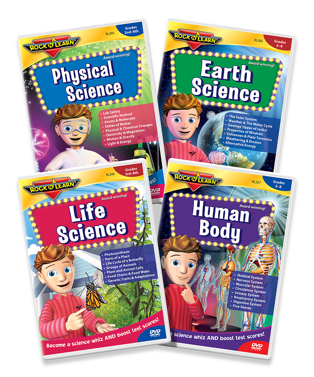 Science DVD Set Science DVD Set. Winner of over 150 awards, Rock 'N Learn programs teach and entertain with music, humor and fun characters. This set inspires little learners to understand fascinating facts about the world of science. These easy to follow DVD's are filled with beginner and advanced concepts kids will enjoy delving into. See how it works. Includes Life Science DVD, Earth Science DVD, Physical Science DVD, Human Body DVDLife Science run time: 59 minutesEarth Science run time: 61 minutesPhysical Science run time: 55 minutesHuman Body run time: 52 minutesRecommended for grades 2 to 8