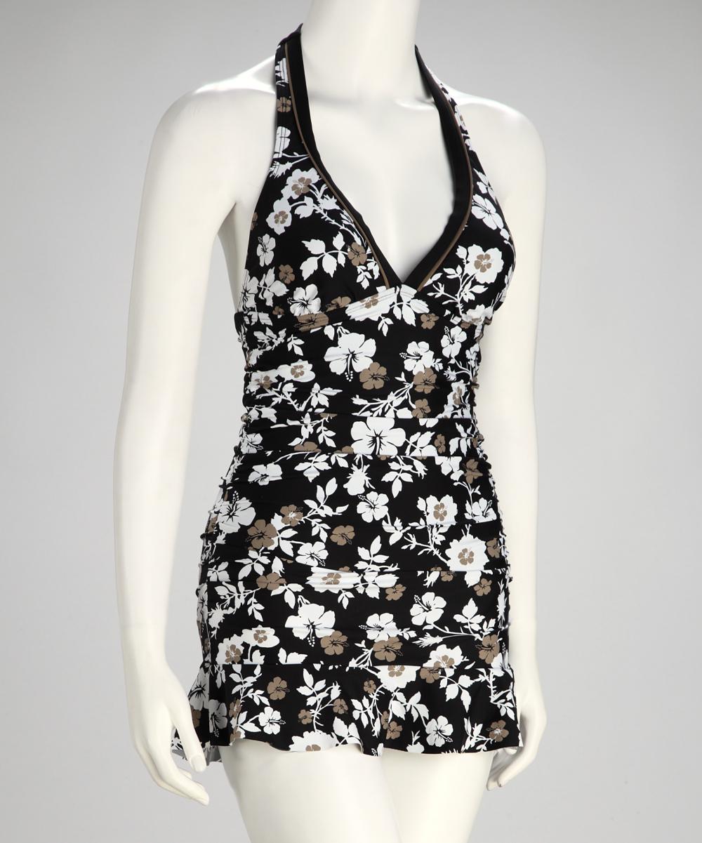 e44462e05e Eco Swim by Aqua Green Khaki & Black Flower Shirred Halter Swimdress ...