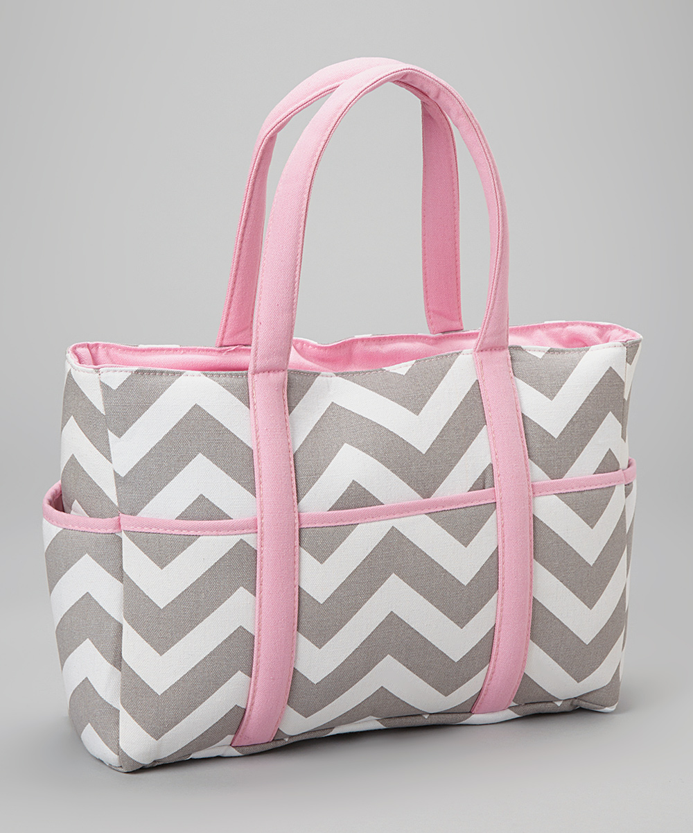 All Gone Pink Gray Chevron Diaper Bag