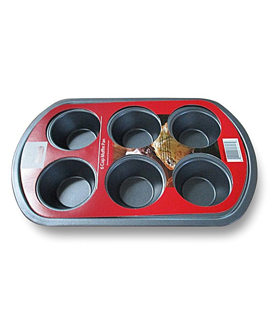 Red & Silver Six-Cup Muffin Pan0