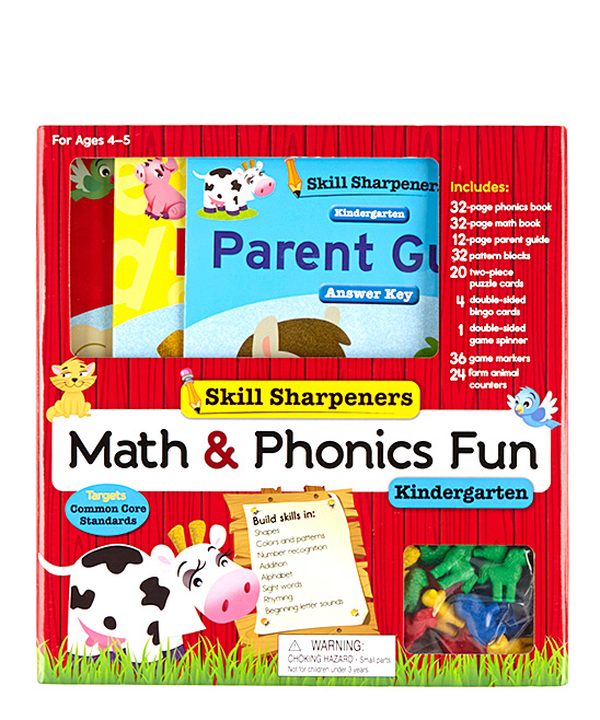 Silver Dolphin Books Skill Sharpeners Kindergarten Math & Phonics Fun Set