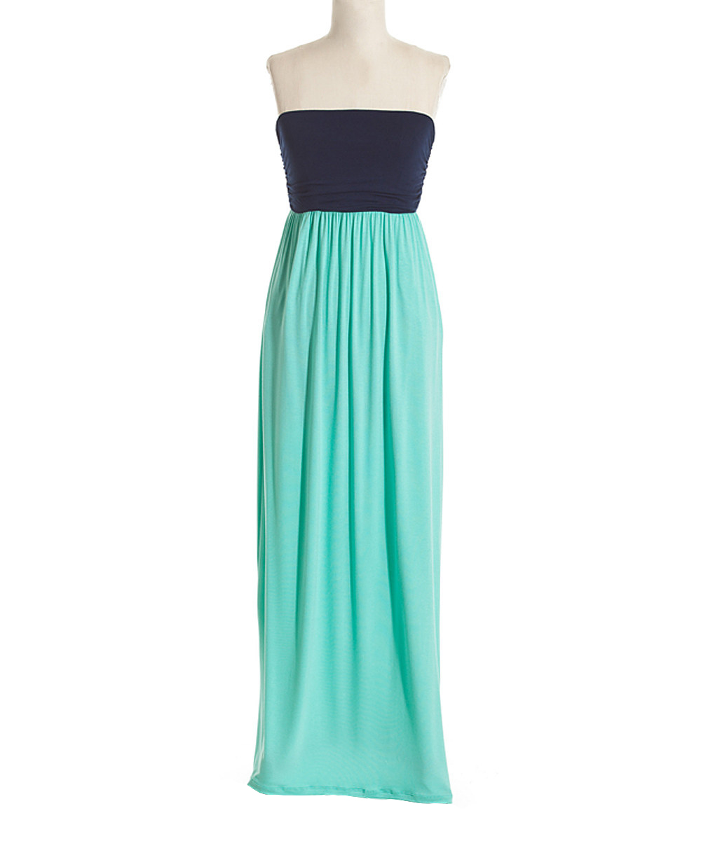 Coveted Clothing Navy Mint Color Block Maxi Dress Zulily