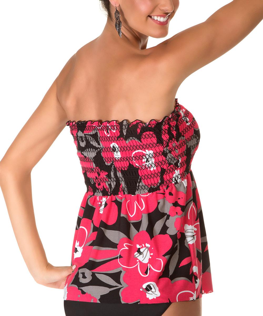 9006148738 Magicsuit Red   Black Blossom Smocked Vicki Strapless Tankini Top ...