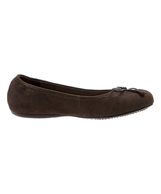 515530eab46 SoftWalk Dark Brown Narina Suede Ballet Flat