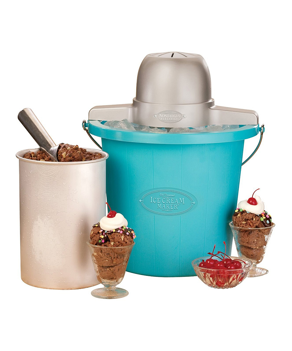 Nostalgia Electrics  Ice Cream Makers  - Blue 4-Qt. Electric Ice Cream Maker Set Blue 4-Qt. Electric Ice Cream Maker Set. Created with the charm of the 1950s, this retro-style machine is safe and fun for everyone to enjoy. Freeze the canister, fill it with fresh ingredients and within 30 minutes, homemade ice cream, sorbet or frozen yogurt will be ready to enjoy. Holds 4 qt.Plastic / metalHand washImported