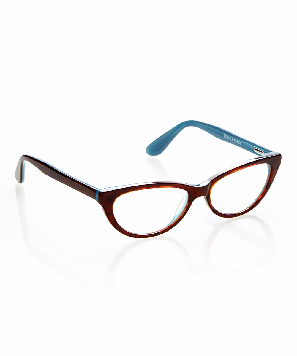 Bella Vista Women's Reading Glasses BROWN/BLUE - Brown & Blue Gato Readers