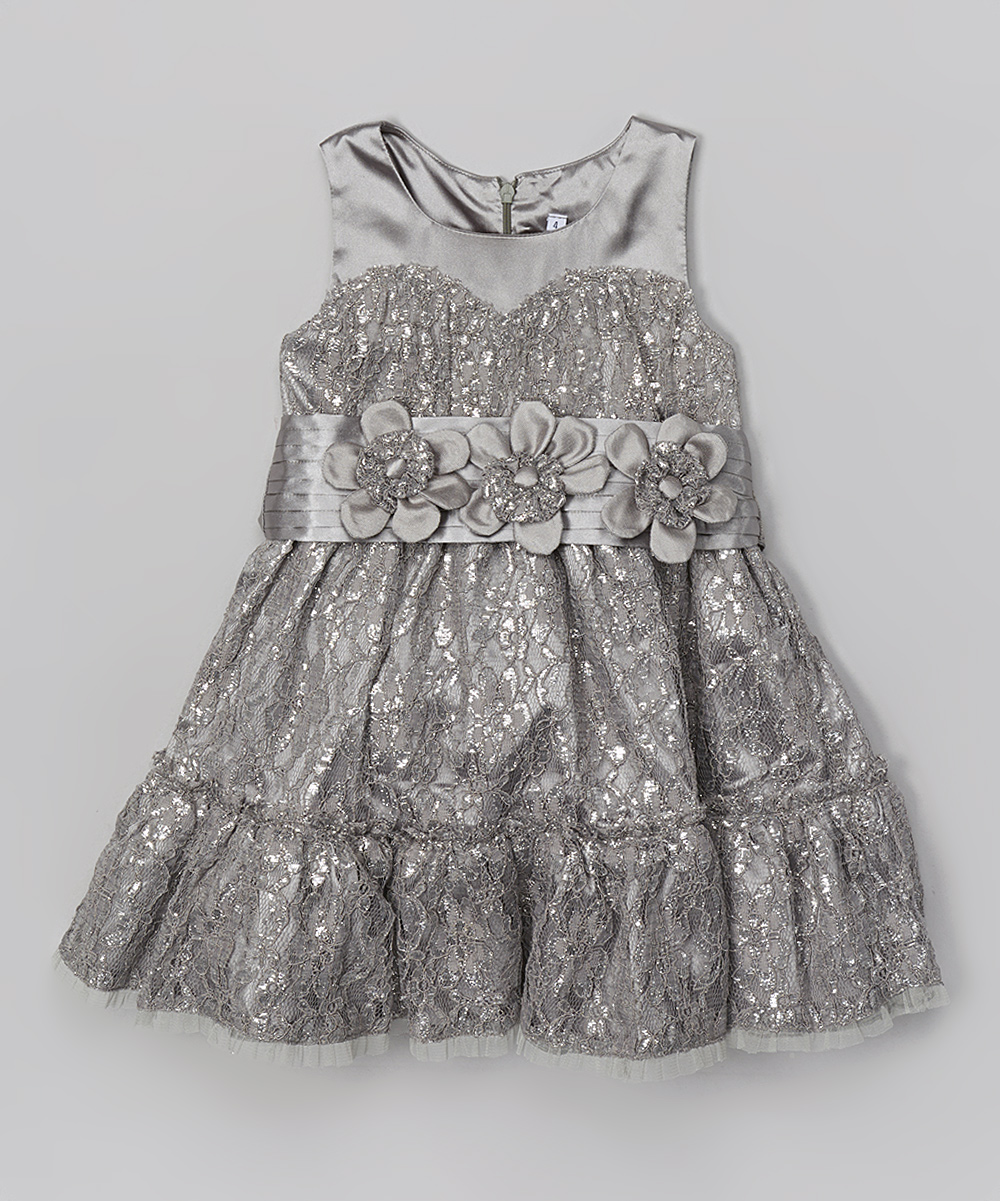 Trish Scully Child Silver Lace Tiered Dress - Toddler  b3de2ded5