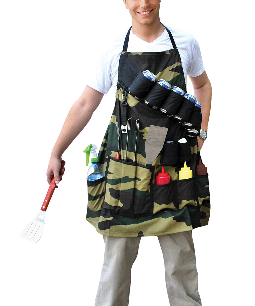 The Grill Sergeant BBQ Apron The Grill Sergeant BBQ Apron. With pockets for everything a grill master needs, this fully adjustable apron is crafted from 100-percent cotton, holds up to six beverage cans and features a built-in can opener. 10.53'' W x 15.21'' HCottonSpot cleanImported