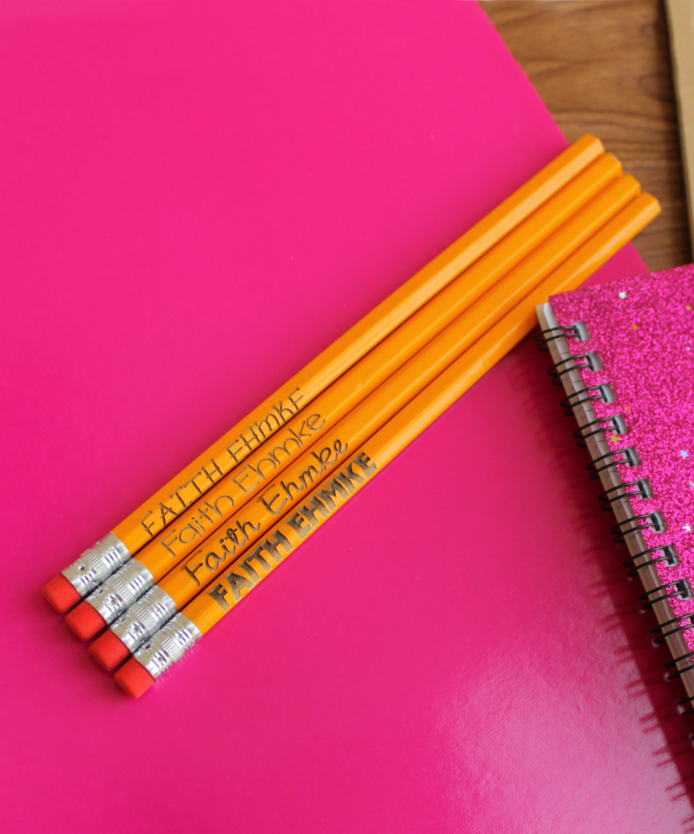 Stamp Out Online Yellow Personalized Pencil Set