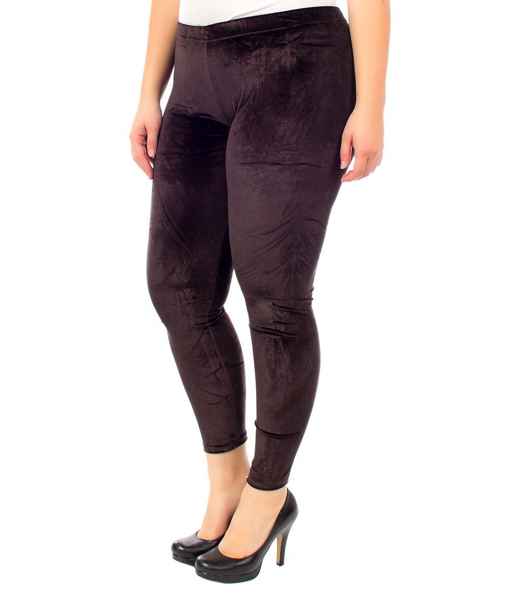 Apparel Deals Women's Leggings COFFEE - Coffee Velvet Leggings - Plus