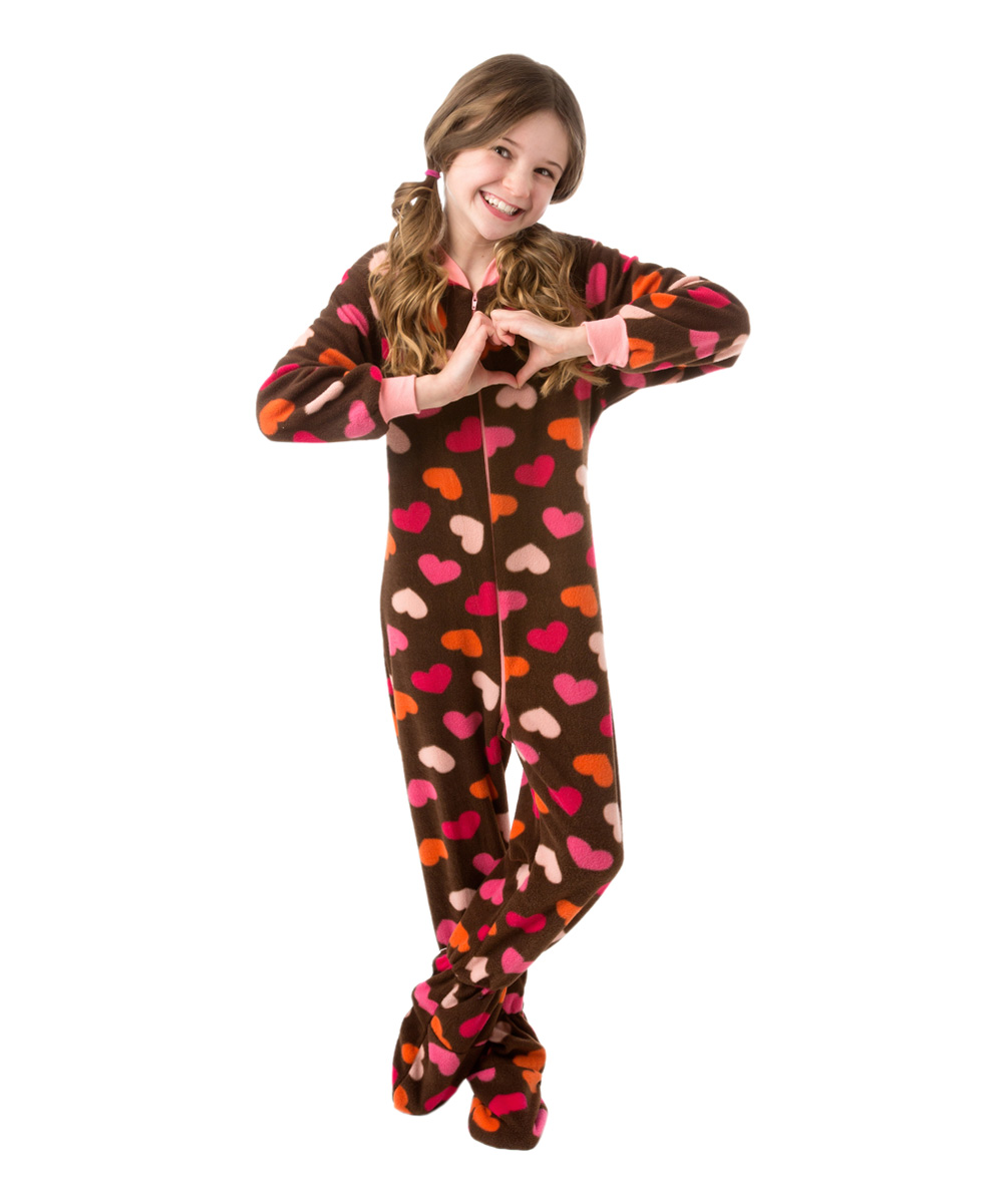 d40cf4722 Big Feet Pjs Brown Heart Fleece Footed Pajamas - Girls