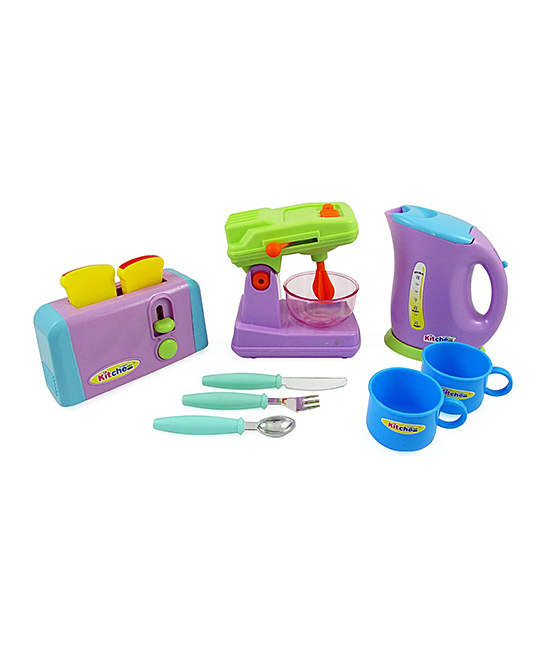Toy Kitchen Appliance Set Toy Kitchen Appliance Set. Kids can pretend to be a five-star chef with these colorful kitchen appliances! The realistic mixer comes with a bowl and features an adjustable head with levers that really work. Includes toaster, two pieces of toast, mixer, bowl, kettle, lid, fork, spoon, butter knife and two cupsGraphic text: (brand label)Packaged: 13.6'' W x 12.8'' H x 4.3'' DPlasticRecommended for ages 3 years and upImported