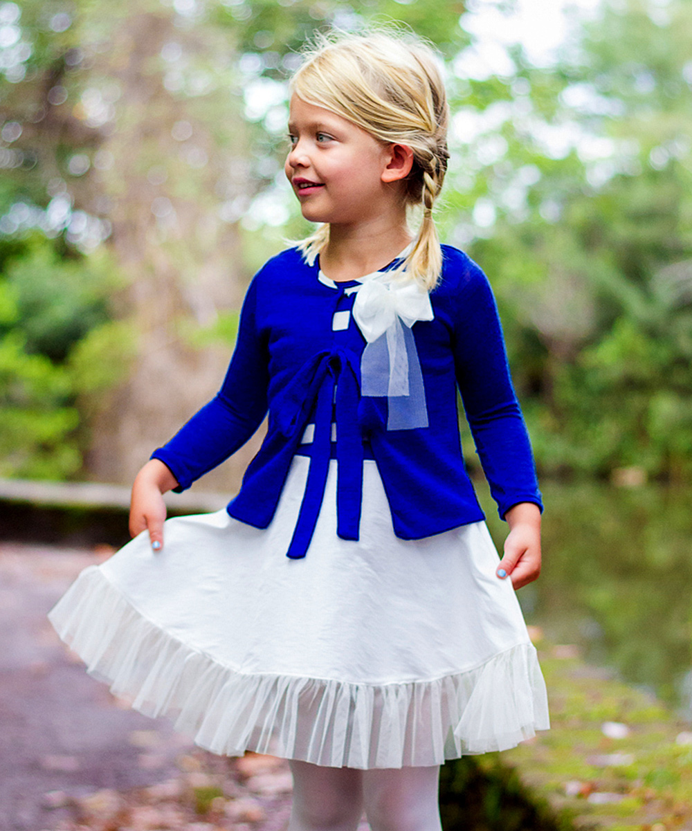 8ce6149f6 Mia Belle Baby Royal Blue   White Stripe Dress   Cardigan - Toddler ...