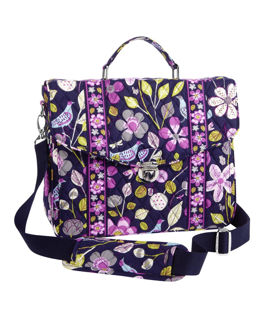 Vera Bradley Floral Nightingale Attache Messenger Bag  c588ebba112a2