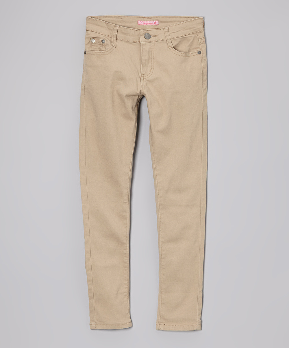 Cuties Fashions Khaki Uniform Skinny Pants Girls Zulily