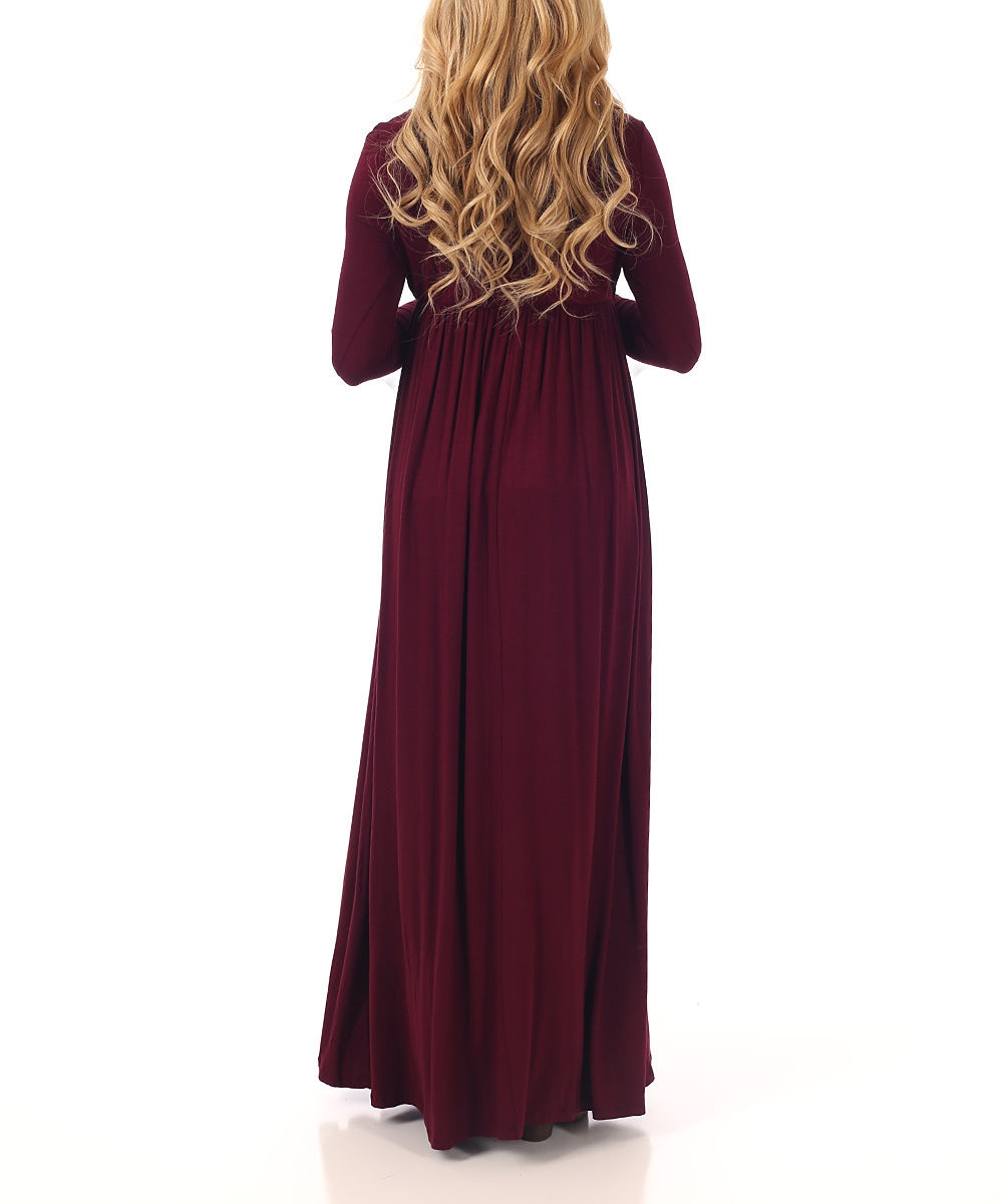 24629490558d1 love this product PinkBlush Burgundy Cowl Neck Maternity Maxi Dress
