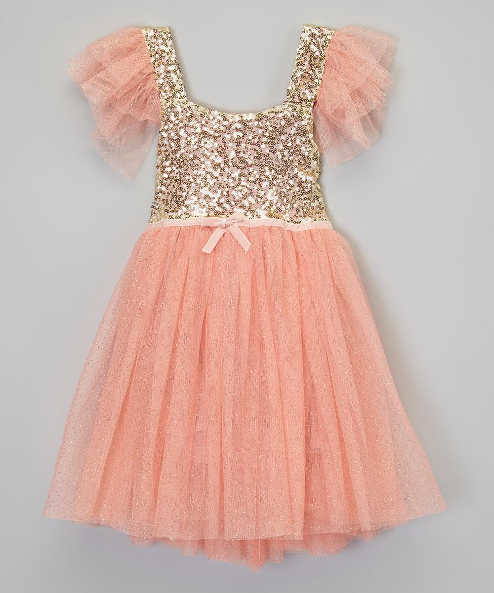 877f174e85 Little Miss Fairytale Pink & Gold Sequin Dress - Infant, Toddler & Girls