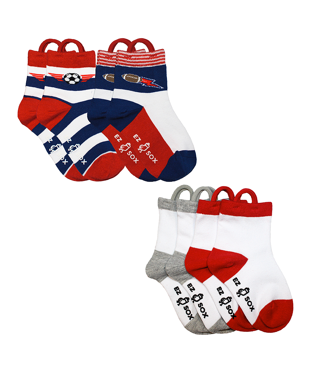 Red & White Sports Socks Set