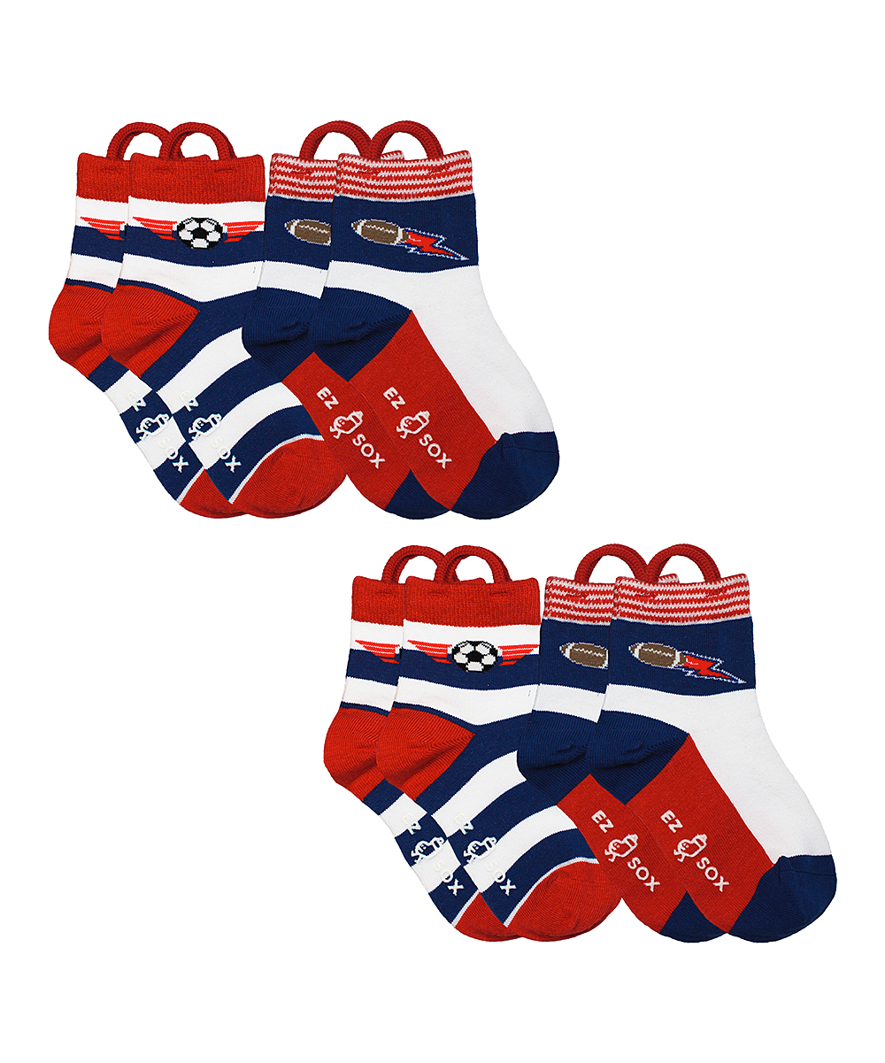 Red & Navy Sports Socks Set