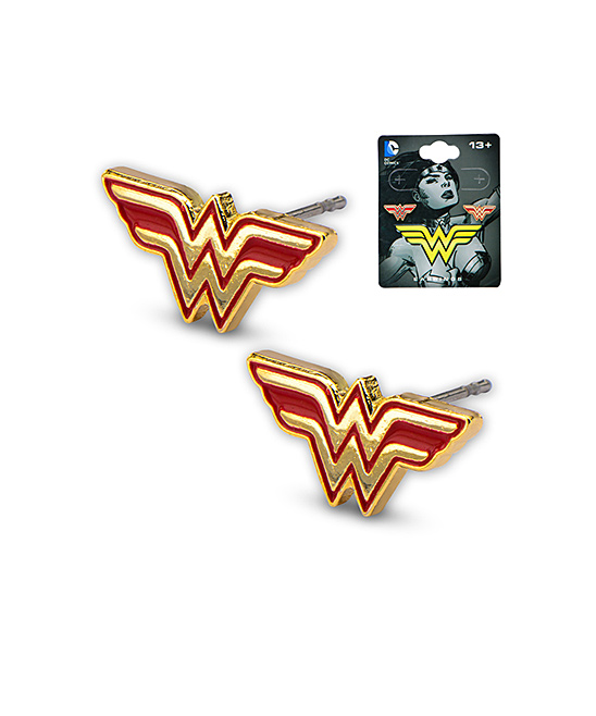 b294963cc ... Womens Red & gold Wonder Woman Logo Stud Earrings - Alternate Image 2