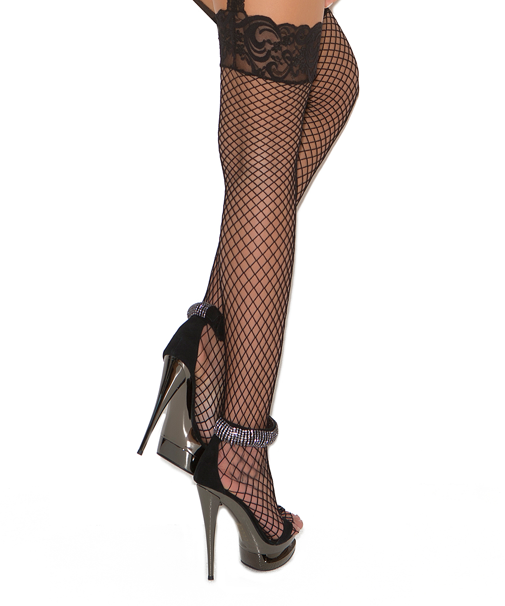 75fa4b553 ... Womens Black Black Fishnet Thigh-High Stockings   Garter Belt -  Alternate Image 2